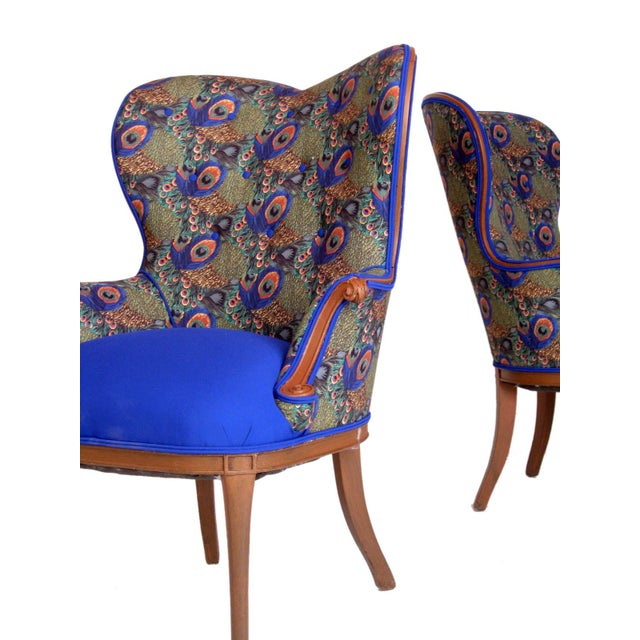 Victorian Peacock Wing Chairs - A Pair - Image 3 of 5