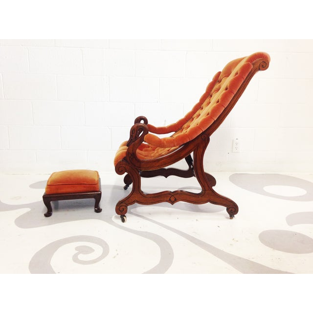 Image of Victorian Antique Armchair With an Ottoman