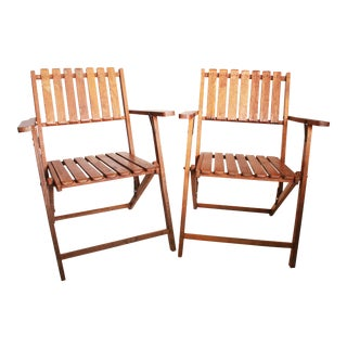 Vintage Rustic Slat Wood Folding Chairs - A Pair