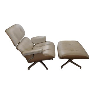 Eames Lounge Chair and Ottoman in White Ash