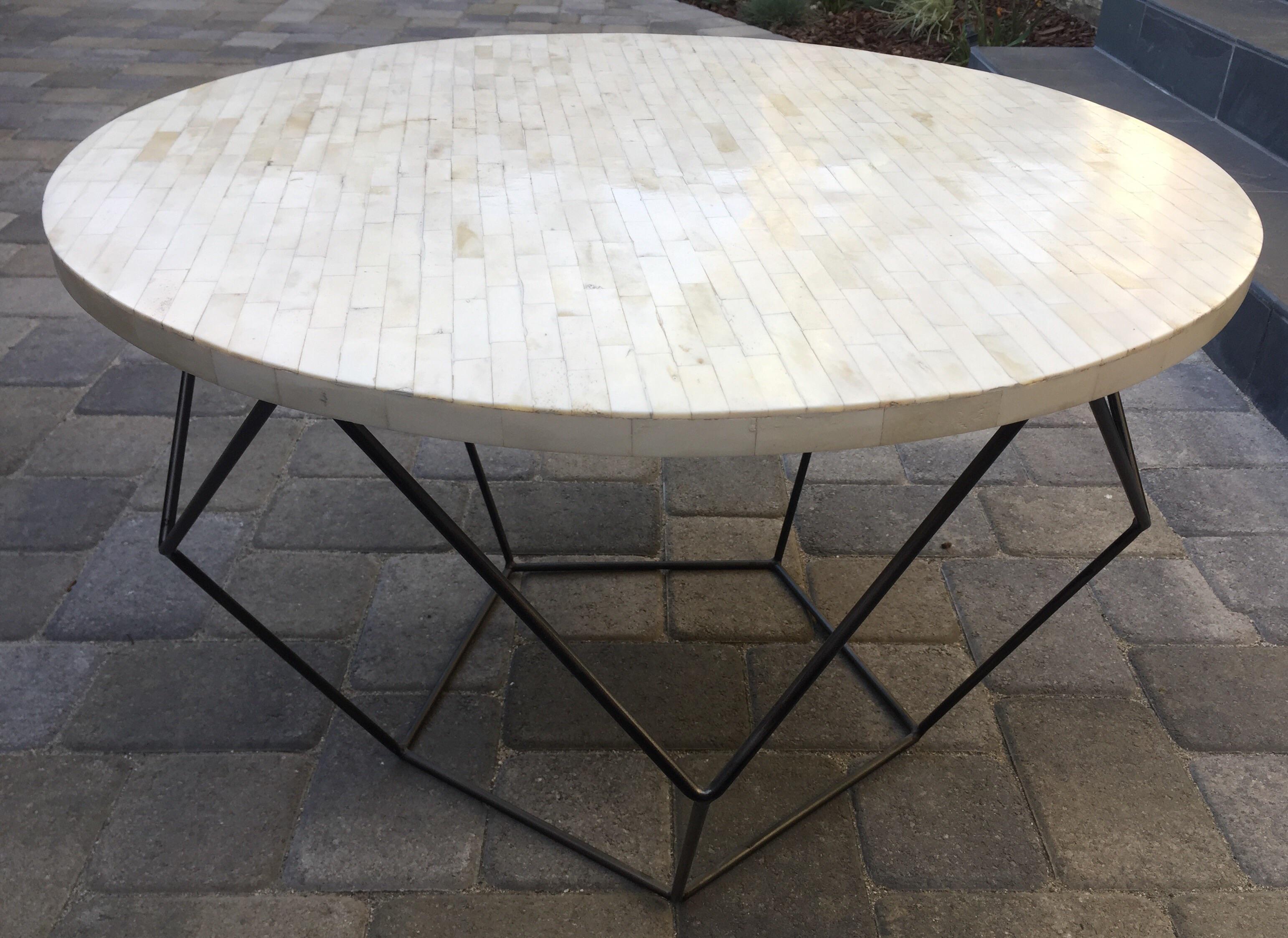 west elm octagon bone inlay side/coffee table | chairish