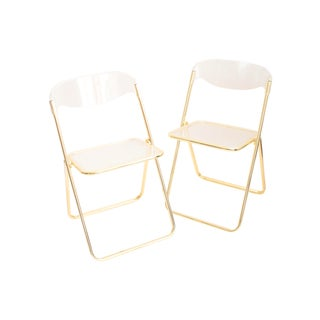 Italian Lucite Folding Chairs - Pair