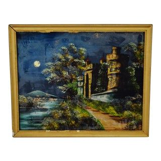 Early Reverse Painted Glass Framed Painting - Scene in Ireland