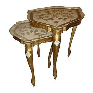 Hand Made Florentine Nesting Tables - A Pair