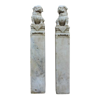 Chinese White Marble Stone Fenshui Foo Dogs Statue - A Pair