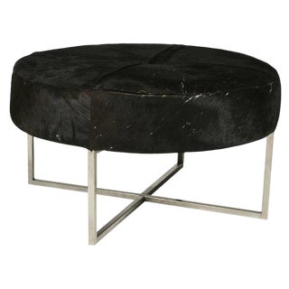 Mid-Century Modern Cow Hide Upholstered Round Bench