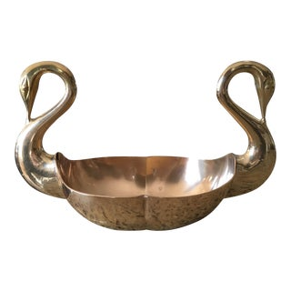 Hollywood Regency Brass Conjoined Swan Center Bowl