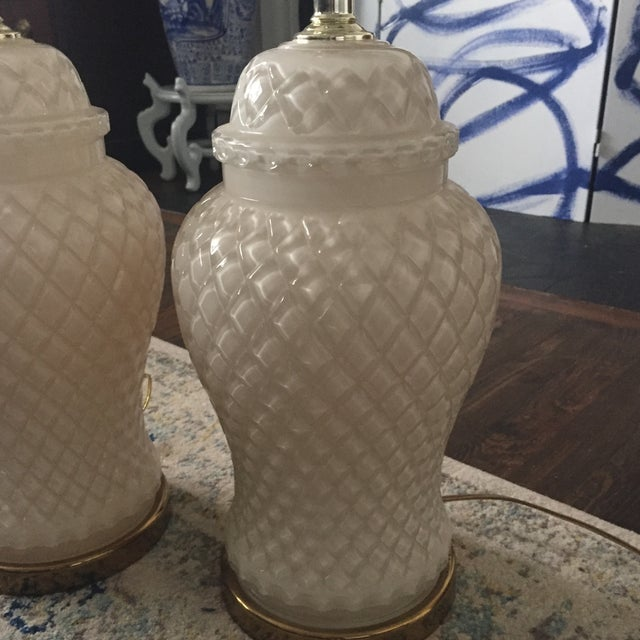 White Glass Quilted Ginger Jar Lamps - A Pair - Image 5 of 11