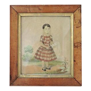 Framed Antique Victorian Watercolor of Young Girl