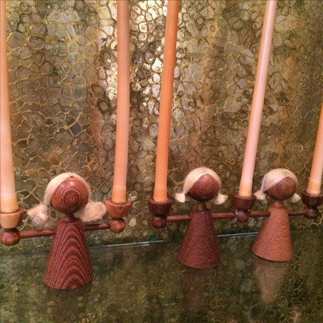 Danish Modern Teak Girl Candle Holders - S/3 - Image 4 of 6