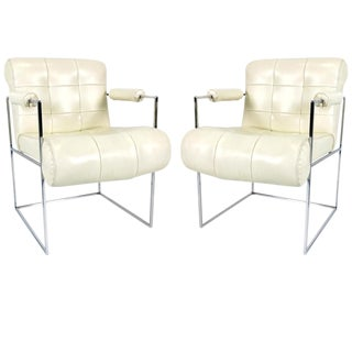 Pair of Chrome Thin Line Lounge Chairs by Milo Baughman