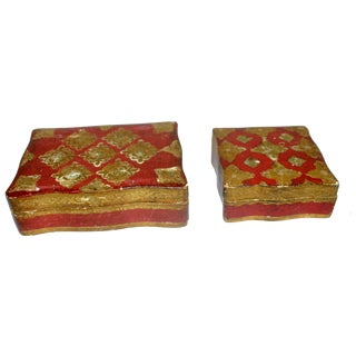 Red & Gold Florentine Boxes - A Pair