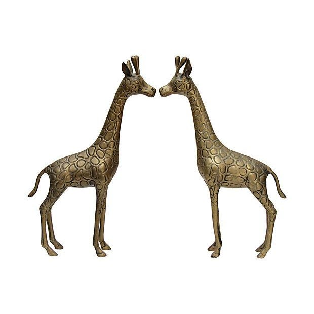 Standing Matched Brass Giraffes - Pair - Image 4 of 6