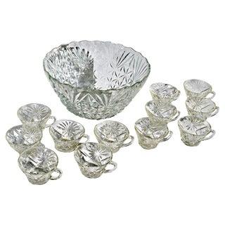 Cut Glass Punch Set - 13 Pieces