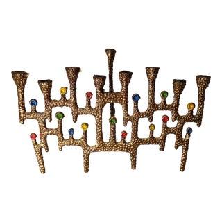 Vintage Brutalist Brass Menorah