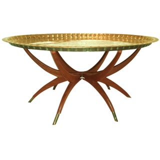 Oval Moroccan Brass Tray Table on Teak Base