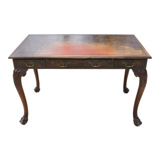 Antique Leather Top Claw Foot Writing Desk