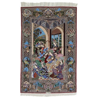 Silk and Wool Very Fine Hand Knotted Persian Esfahan Rug - 5′ × 8′