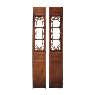 Vintage Chinese Window Opening Tall Wood Panel Screens - A Pair