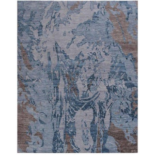 Contemporary Blue Marbled Rug - 9' x 11'11""