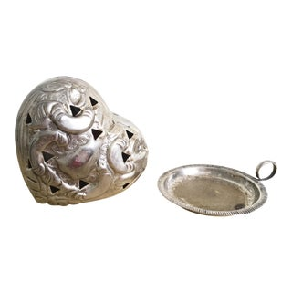 Silver Heart Jewelry Box & Ring Dish - A Pair