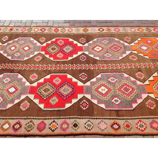 "Vintage Turkish Kilim Rug - 6'5"" X 11'6"" - Image 4 of 6"