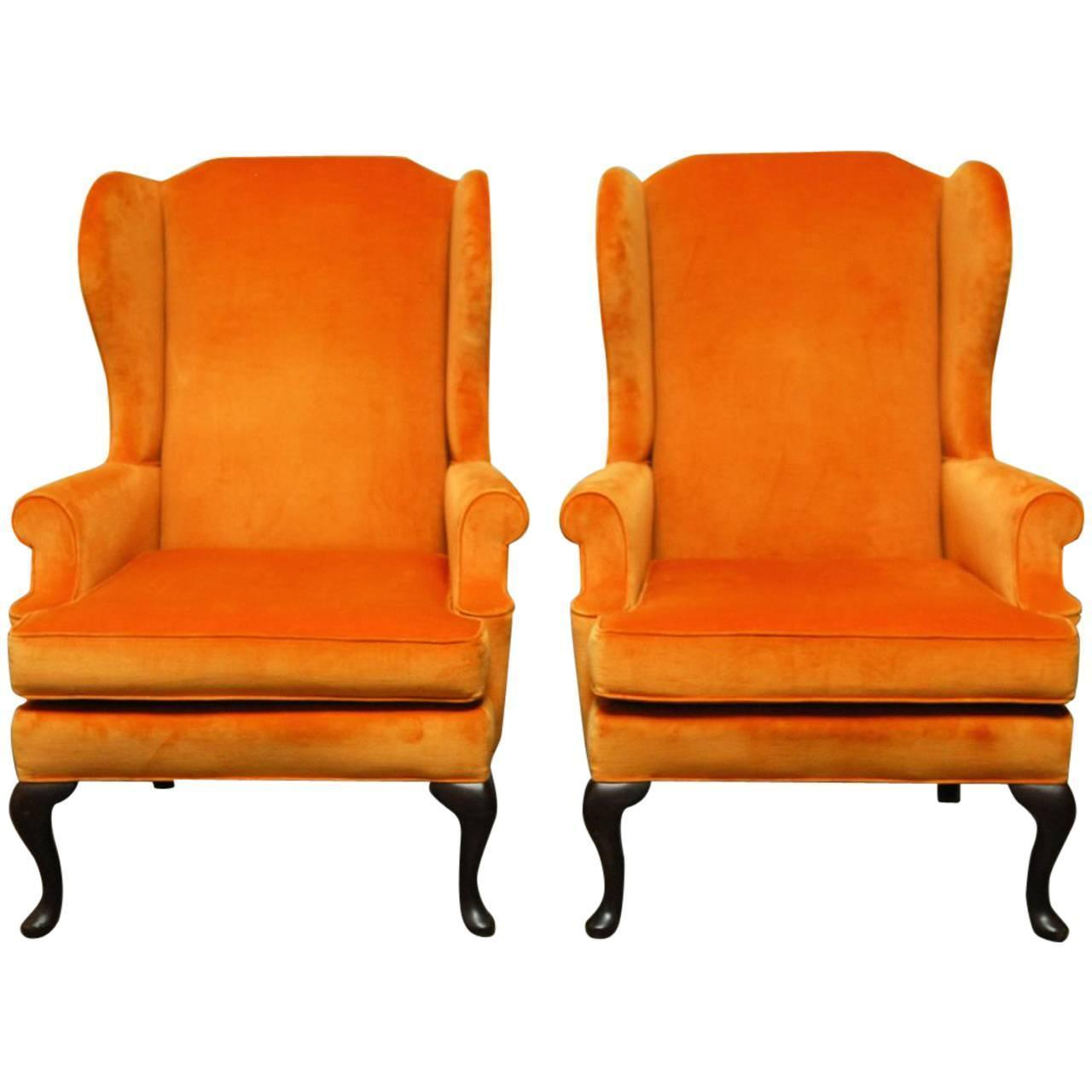 Queen Anne Style Orange Wingback Chairs   A Pair