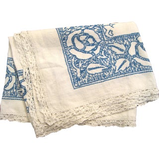 Vintage Hand-Embroidered Linen Table Runner