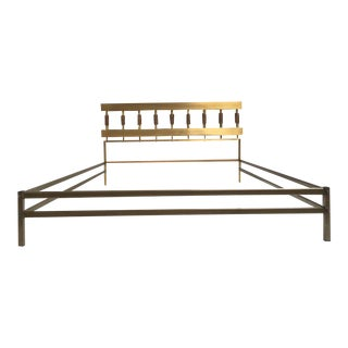 Brass & Bronze Bed With Pair of Matching Nightstands by Luciano Frigerio, 1970
