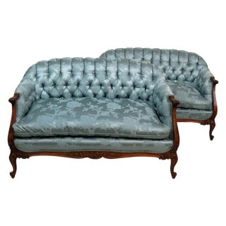 Louis XVI Style Tufted Settee- A Pair