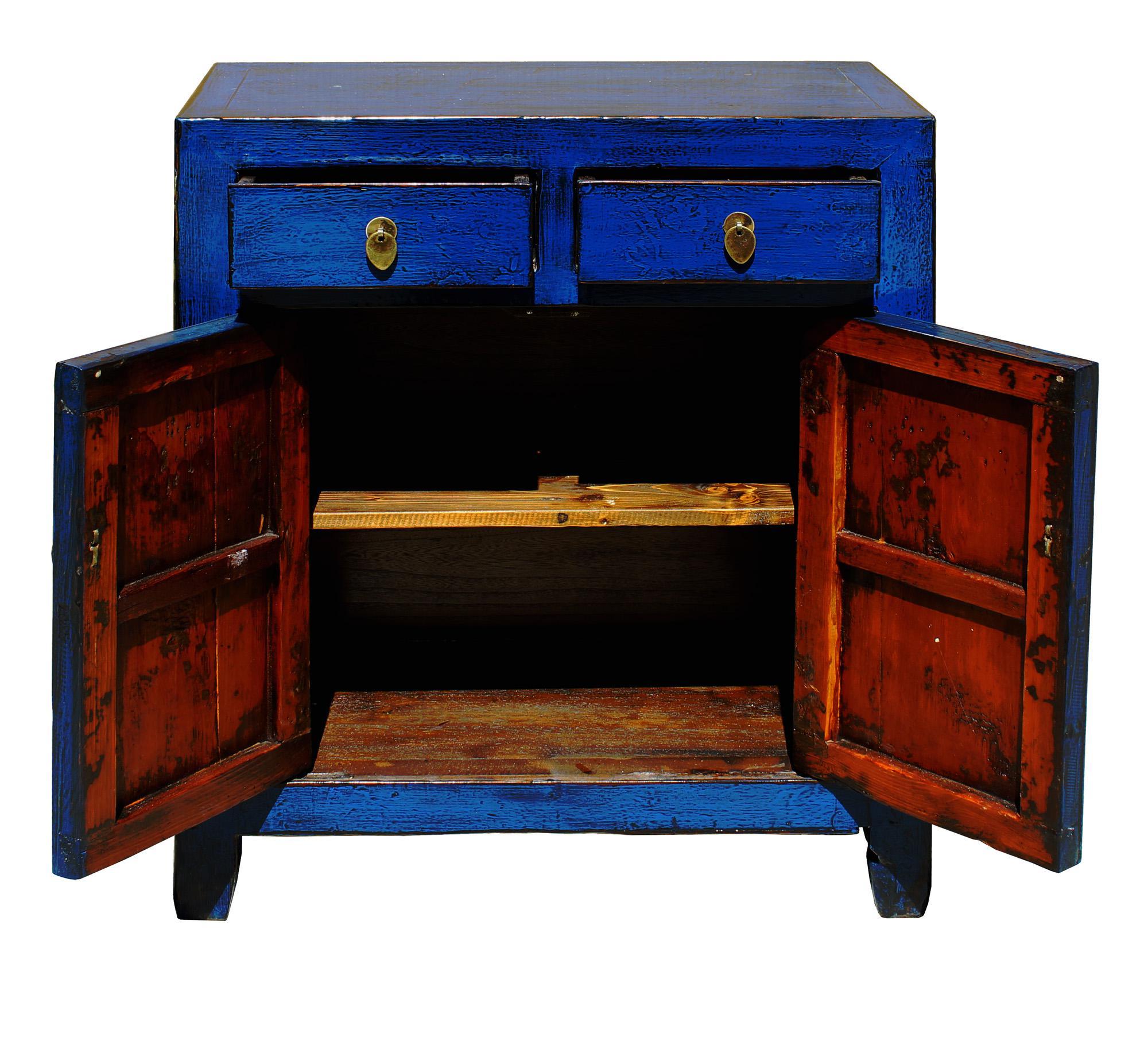 Oriental Simple Indigo Blue Credenza Side Table Cabinet   Image 5 Of 6