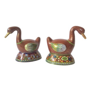 Chinese Cloisonné Duck Boxes - A Pair