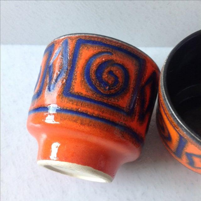 Mid-Century Orange & Blue Planters - A Pair - Image 6 of 7