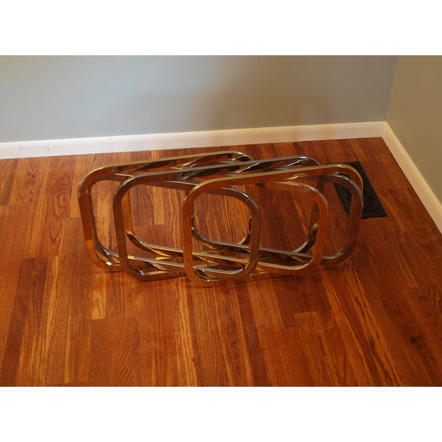 Vintage Chrome & Brass Glass Top Coffee Table - Image 6 of 8