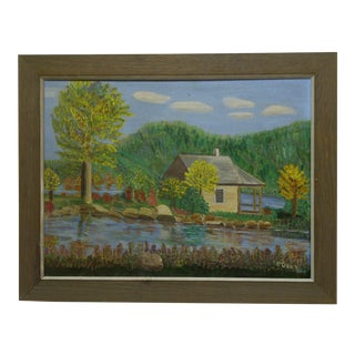 "F. Cobler ""Cabin by the Water"" Original Framed Painting on Board"