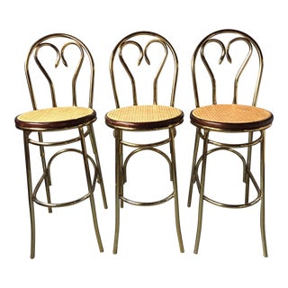 Gold Chrome Thonet-Style Bar Stools - Set of 3