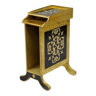 Italian Florentine Gold Gilt Wood Black Toleware Magazine Rack Mail Holder Stand
