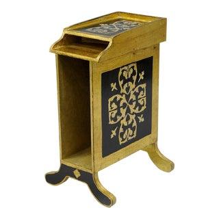 Italian Florentine Gold Gilt Wood Black Toleware Magazine Rack Mail Holder Stand