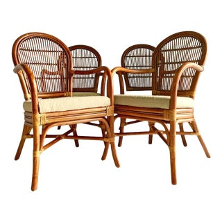 Vintage Rattan Upholstered Armchairs - Set of 4