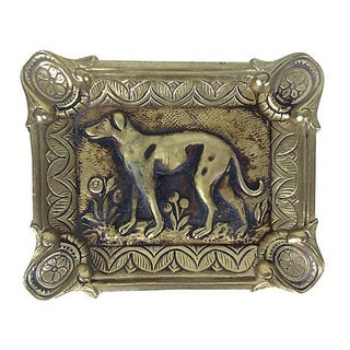 French Brass Ashtray with Dog