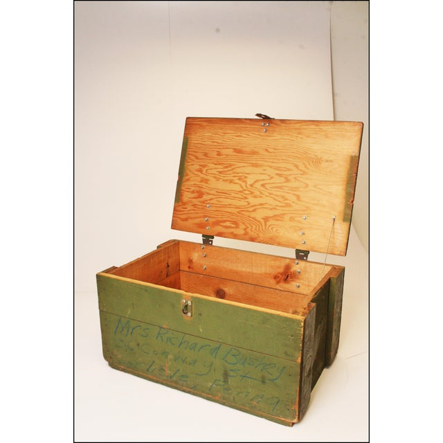 Vintage Distressed Green Military Trunk - Image 10 of 11