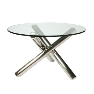 Glass Table with Sculptural X Chrome Base