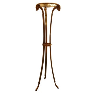 Italian Mid-Century Steel & Brass Pedestal Table