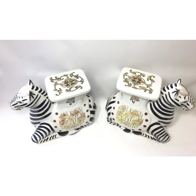 Image of Hollywood Regency Zebra Garden Stools - A Pair