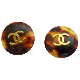 Chanel Button Tortoiseshell Earrings