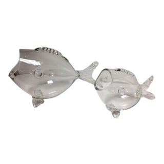 Clear Art Glass Opened Mouthed Fish - A Pair