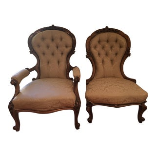 Victorian Gold Damask Chairs - A Pair