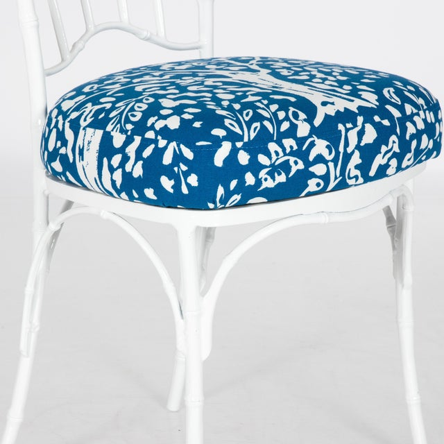 Chinoiserie White Powder-Coated Metal Faux Bamboo Dining Set - Image 6 of 9