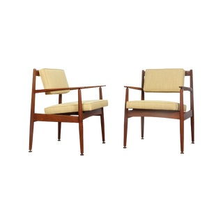 Danish Modern Yellow Armchairs - A Pair