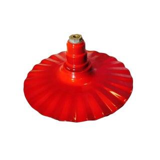 Red, Steel and Enamel Barn Light with Fluted Edge